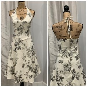 B. Smart black white floral print halter dress 12